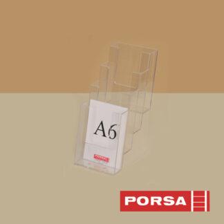Porsa Brochureholder A6 med 4 rum