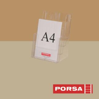Porsa Brochureholder A4 med 4 rum
