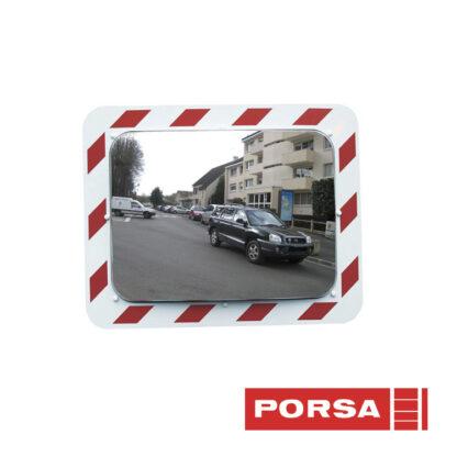 Porsa Trafikspejl med kant hvid/rød