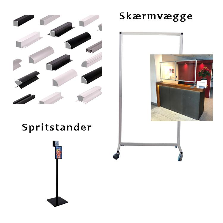 Butiksinventar - spritstander og skærmvæg